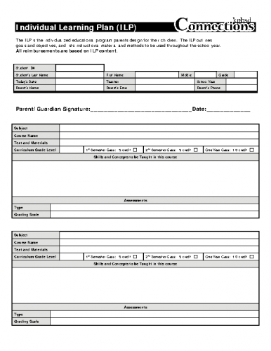 Individual Learning Plan (ILP) Blank Form