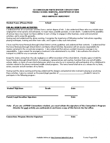 Middle School Co-Curricular Participation Consent Form