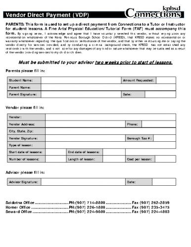 Vendor Direct Payment (VDP)