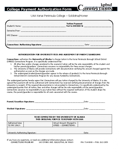KPC/KBC- Payment Authorization Form